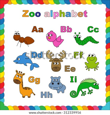 The complete kids english animal zoo alphabet with fun cartoon animals. ABC. Zoo alphabet design in outline style. Outline zoo alphabet to be colored. Letters. Learn to read. Isolated.