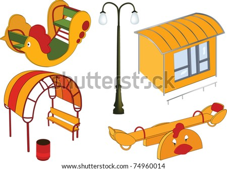 The complete set a children's swing - stock vector
