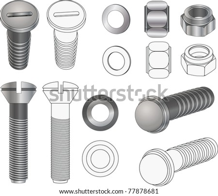The complete set bolts and nuts . Clip-Art - stock vector