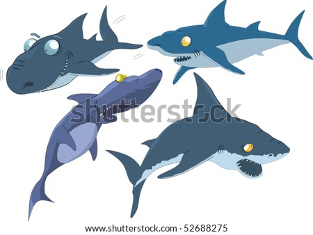 The complete set of sharks - stock vector