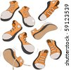 The complete set of sports footwear gym shoes - stock vector
