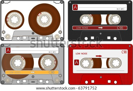 The complete set of the different Audio Cassettes Tapes EPS10 - stock vector