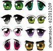 The complete set of the drawn eyes - stock photo