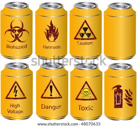 The complete set yellows tins with dangerous chemical and biological liquids - stock vector
