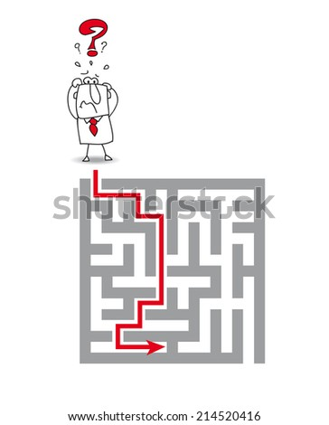 the complex maze. Joe has a big problem. he wants to get through the maze but he's very stressed - stock vector