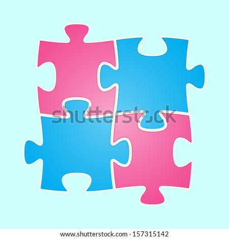 The composition made out of blue and pink puzzle piece / The jigsaw composition / The puzzle