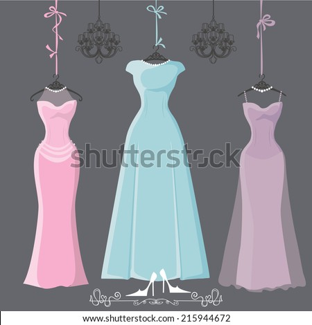 The composition of  three bridesmaid party dresses with long skirt. Dresses hang on ribbons.Composition with chandeliers,text, high heel shoes on grey background. Fashion vector Illustration - stock vector
