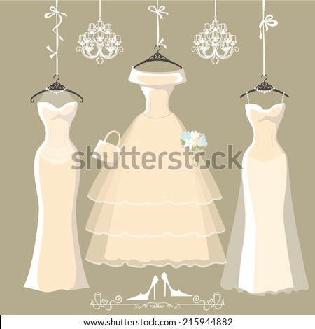 The composition of  three long bridal dresses with short skirt.Dresses hang on ribbons.Composition with chandeliers,text, high heel shoes on grey background. Fashion vector Illustration - stock vector