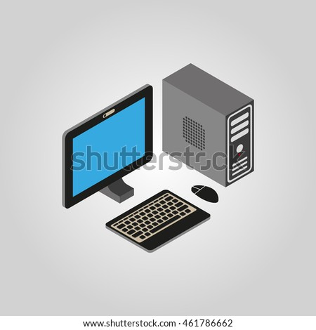 The computer icon. PC, desktop symbol.3D isometric. Flat Vector illustration