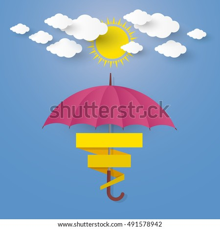 The Concept is Rainy season. umbrella in the air with cloud and sun .paper cut stlye. illustration