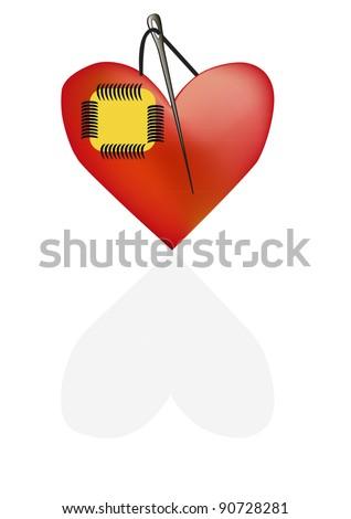 The concept of a broken heart - stock vector