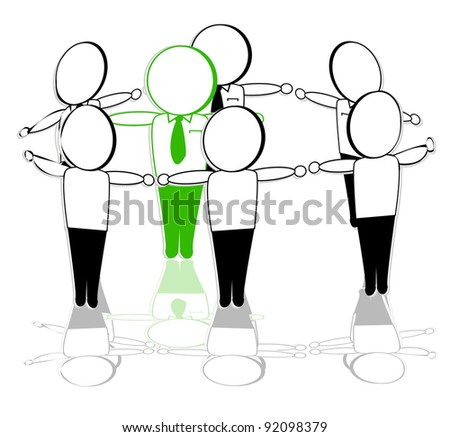 the concept of a green leader in a circle of people