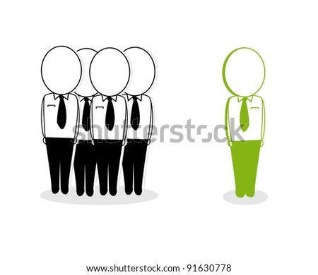 the concept of a green leader in guiding its members - stock vector