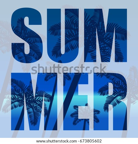 The concept of a postcard on a summer theme with summer attributes. Beach vacation, palms, tropics, silhouette. Vector illustration, banner.