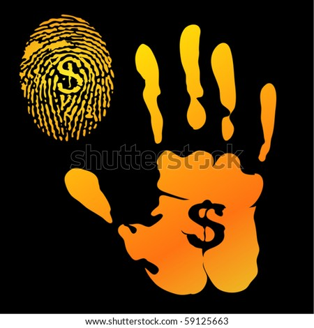 The concept of a successful man who always leaves traces (hand-prints and finger-prints) with dollar signs - stock vector