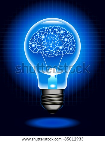 the concept of artificial intelligence.shining lamp with Cyborg  brain - stock vector