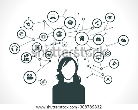 The concept of business communication in a computer network. Avatar of 
