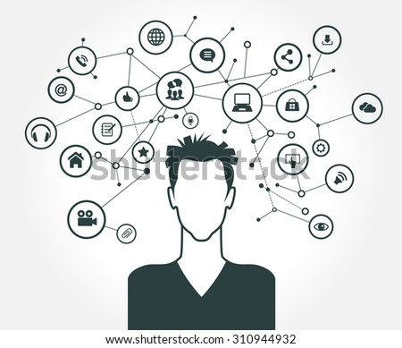 The concept of business communication in a computer network. Avatar of men surrounded by abstract network and interface icons - stock vector