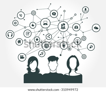 The concept of business communication in a computer network. Avatar of people surrounded by abstract network and interface icons