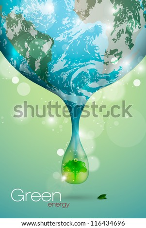 the concept of clean energy on the planet - stock vector