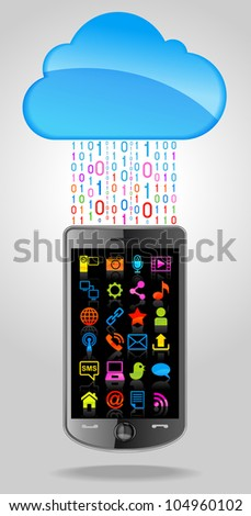 the concept of cloud network, phone technology and Icons. File is saved in AI10 EPS version. This illustration contains a transparency - stock vector