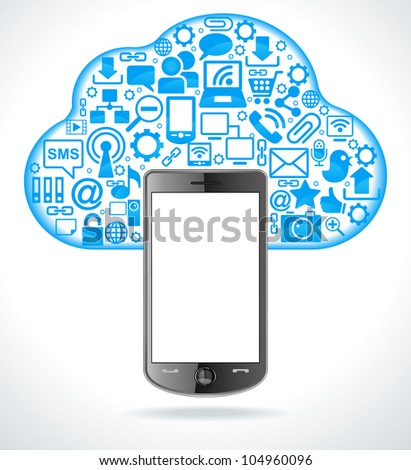 the concept of cloud tenology. phone technology and Icons. File is saved in AI10 EPS version. This illustration contains a transparency - stock vector