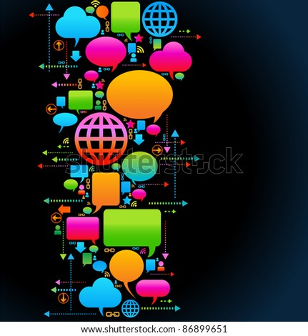 the concept of communication of people through a global computer network - stock vector