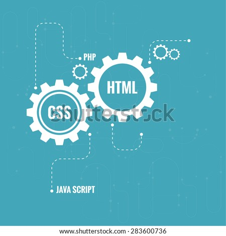 The concept of creating Web project using programming languages, search engine optimization, promotion. Gears with lines and dots. - stock vector