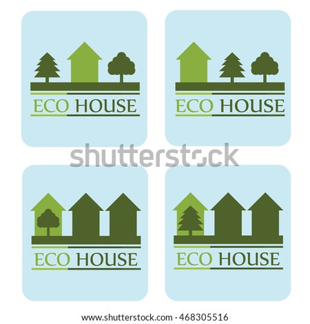 the concept of ecological house. set of logos.