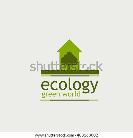 the concept of ecology green world. logo. tree and home the inscription on the white background.