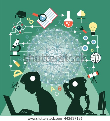 The concept of education. Icons education. Online education, Silhouettes of boy and girl  involved in the computers in an environment of education icons. - stock vector