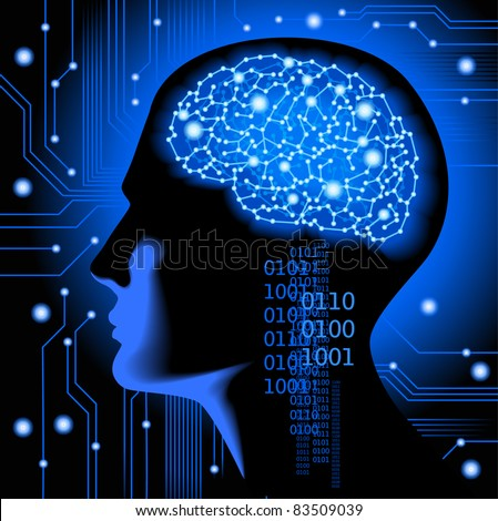 the concept of human thinking.Abstract science background with brain. - stock vector