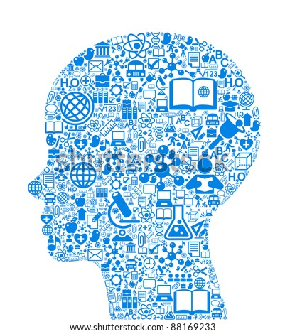 the concept of learning. Vector background of the many icons on the topic of education - stock vector