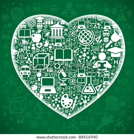the concept of love to the knowledge of.the background of the characters school science forming the shape of the heart - stock vector