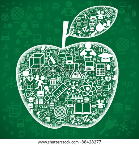 the concept of love to the knowledge of.the background of the characters school science forming the shape of the apple - stock vector