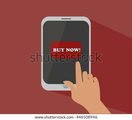 "the concept of mobile gadget on a red background. vector hand is pressesing the button ""buy now!"""