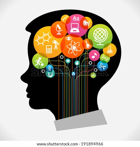 The concept of modern education.  Infographic Template with silhouette child head, abstract brain, science and education icons The generation of knowledge. File is saved in AI10 EPS version.  - stock vector