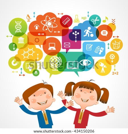 The concept of modern education. Template with child surrounded by science and education icons in brightly colored circled. File is saved in 10 EPS version. - stock vector