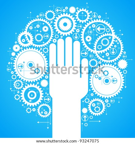 the concept of motion. Human hand starts the mechanism - stock vector
