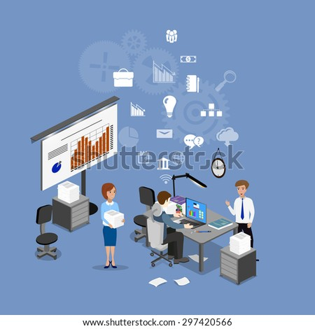 The concept of office work, teamwork, brainstorming, meeting, exchange of ideas, problem-solving.  - stock vector