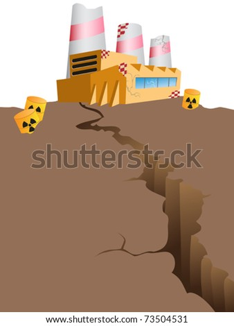 the concept of risky nuclear power - stock vector