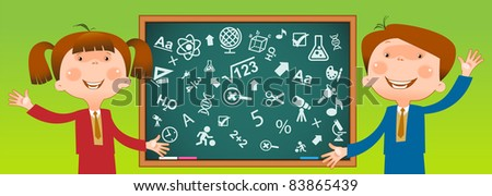 the concept of the education of children in school.Choice of a science for studying - stock vector