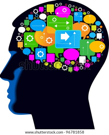 the concept of the information boom. silhouette of a human head with speech bubbles