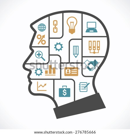 The concept of the information movement in modern business. Silhouette of human head with compartments and icons on the topic of business - stock vector