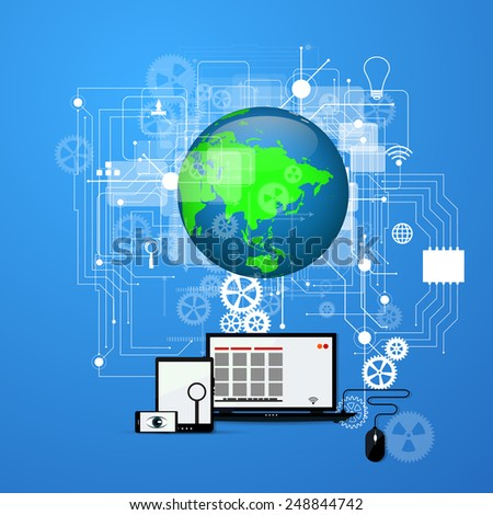 The concept of the Internet, social networking. - stock vector