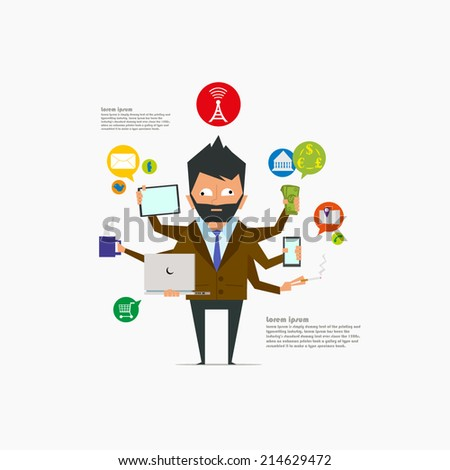 the concept of the modern world. modern businessman makes a lot of things at once.management concept.social network icon - vector illustration. - stock vector