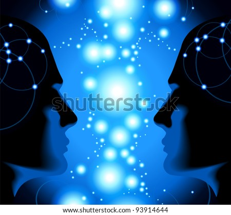 the concept of the relationship of a human with the cosmic energy.File is saved in AI10 EPS version. This illustration contains a transparency - stock vector