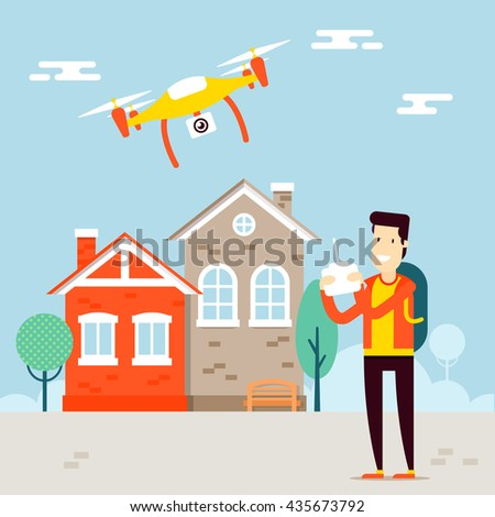 The concept of video vloging with the drone video capture. Flying copter managing by the man character. Outdoor view. Vector flat illustration. Very easy to edit.  - stock vector