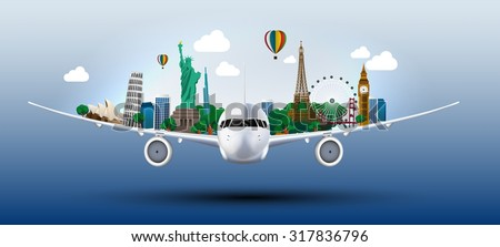 The concept travel the world on the airplanes. vector - stock vector