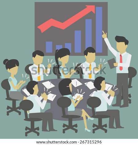 The conference and the success of the business. - stock vector